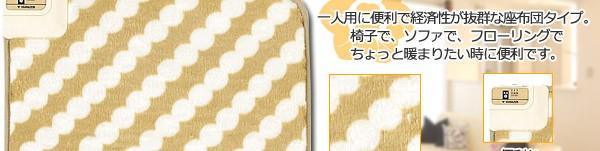 一人用に便利で経済性が抜群な座布団タイプ。椅子で、ソファで、フローリングでちょっと暖まりたい時に便利です。