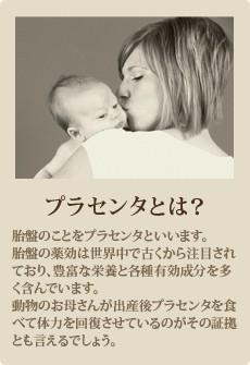 【プラセンタとは?】胎盤のことをプラセンタといいます。胎盤の薬効は世界中で古くから注目されており、豊富な栄養と各種有効成分を多く含んでいます。動物のお母さんが出産後プラセンタを食べて体力を回復させているのがその証拠とも言えるでしょう。