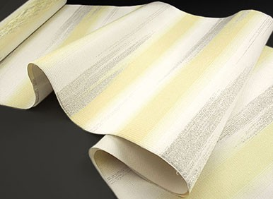 綴れ織 西陣織 名門 船瀬織物 謹製 銀檸檬 段霞 九寸 名古屋帯