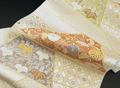 西陣織 老舗 織匠 小平 謹製 蒔絵横裂取文 袋帯