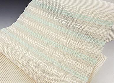 夏帯 絽綴れ 西陣 名門 河村織物 謹製 手織り 紐文様 八寸 名古屋帯