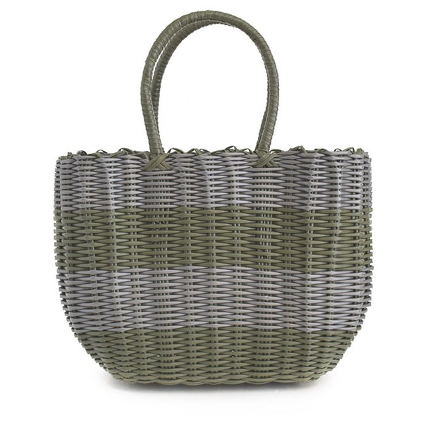 かごバッグ カゴバッグ ビニール トートバッグ レディース 収納 インテリア 鞄 バスケット 子供 エコバッグ ストローバッグ|e-zakkamania|24