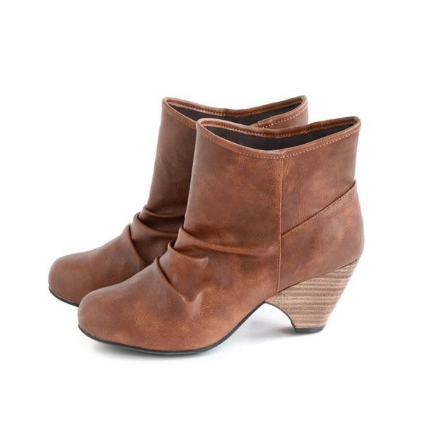 ショートブーツ レディース ブーティー ブーツ 歩きやすい 痛くない 秋 冬 フェイクレザー 婦人靴 チェック柄 無地|e-zakkamania|21