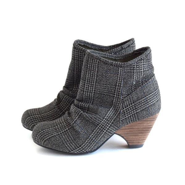 ショートブーツ レディース ブーティー ブーツ 歩きやすい 痛くない 秋 冬 フェイクレザー 婦人靴 チェック柄 無地|e-zakkamania|24