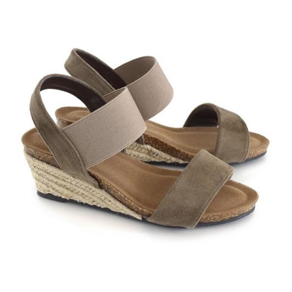 サンダル レディース ウェッジソール 夏 ゴムバンド 靴 シューズ 歩きやすい 脱げない ヒール 大きいサイズ ミュール アンクルストラップ e-zakkamania 22