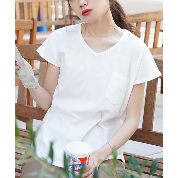 汗しみ防止 Tシャツ レディース 半袖 汗 吸収 脇汗 速乾 UVカット 紫外線対策 綿100% カットソー Vネック 無地 トップス tシャツ|e-zakkamania|18