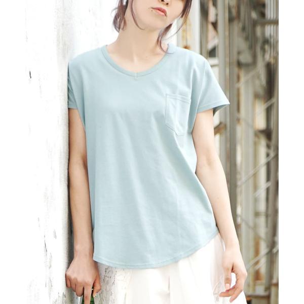 汗しみ防止 Tシャツ レディース 半袖 汗 吸収 脇汗 速乾 UVカット 紫外線対策 綿100% カットソー Vネック 無地 トップス tシャツ|e-zakkamania|20