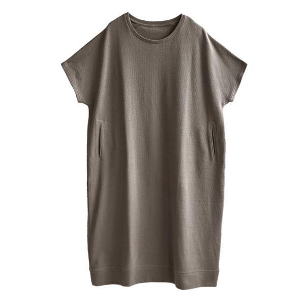 ワンピース レディース ワッフル ワンピース 春 夏 サーマル Tシャツ カットソー 半袖 五分袖 綿100 コットン ドルマン半袖ワンピース|e-zakkamania|22