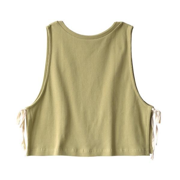 ベスト レディース 春 夏 トップス 羽織り 重ね着 ノースリーブ 丸首 クルーネック 綿混 コットン サーマル ワッフル スウェット カジュアル リボン 異素材|e-zakkamania|19