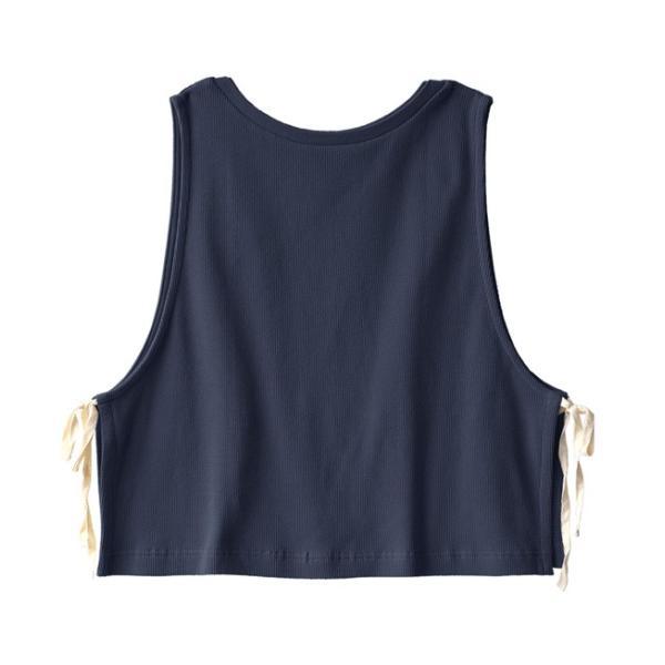 ベスト レディース 春 夏 トップス 羽織り 重ね着 ノースリーブ 丸首 クルーネック 綿混 コットン サーマル ワッフル スウェット カジュアル リボン 異素材|e-zakkamania|20