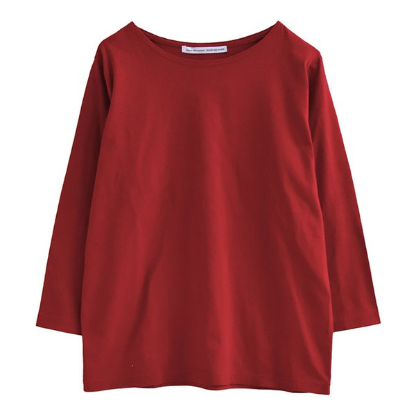 カットソー レディース 秋服 綿100% ロンT 七分袖 Tシャツ トップス コットン ボーダー 無地 大きいサイズ ゆったり ボートネック 秋|e-zakkamania|27
