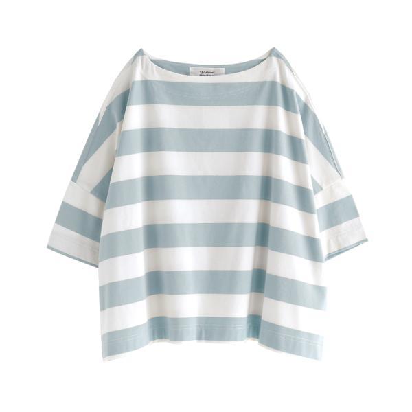 Tシャツ レディース トップス 半袖 五分袖 綿混 コットン混 ボーダー ワイドボーダー カットソー 春 夏|e-zakkamania|20