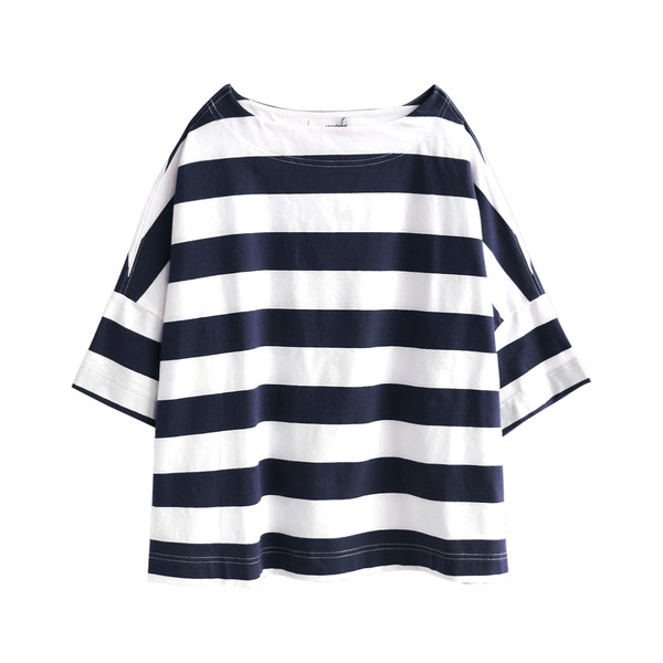 Tシャツ レディース トップス 半袖 五分袖 綿混 コットン混 ボーダー ワイドボーダー カットソー 春 夏|e-zakkamania|21