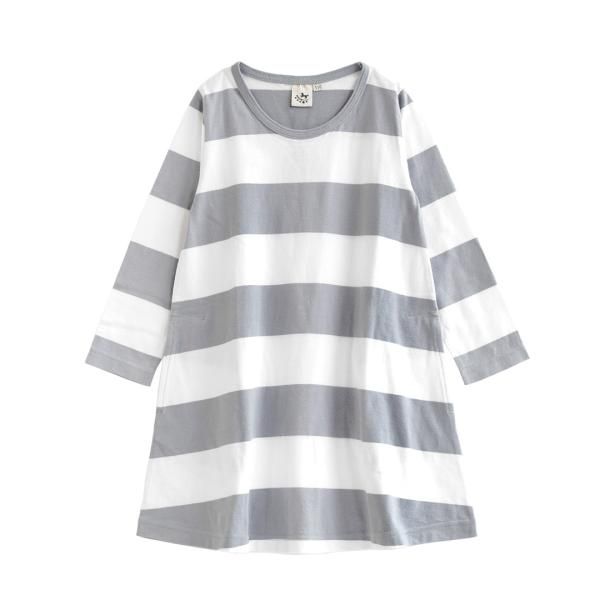 ワンピース キッズ ワンピ 長袖 綿100% 女の子 子供服 お揃い Aライン カットソー コットン ボーダー|e-zakkamania|24