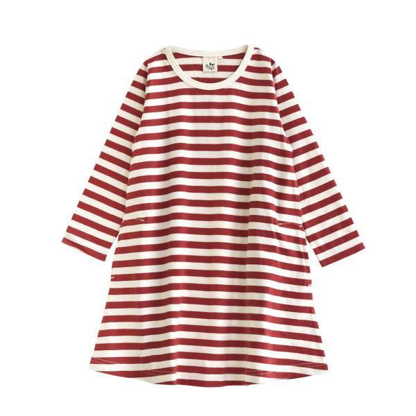 ワンピース キッズ ワンピ 長袖 綿100% 女の子 子供服 お揃い Aライン カットソー コットン ボーダー|e-zakkamania|27