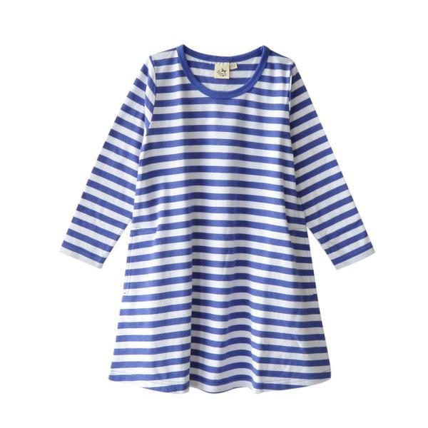 ワンピース キッズ ワンピ 長袖 綿100% 女の子 子供服 お揃い Aライン カットソー コットン ボーダー|e-zakkamania|31