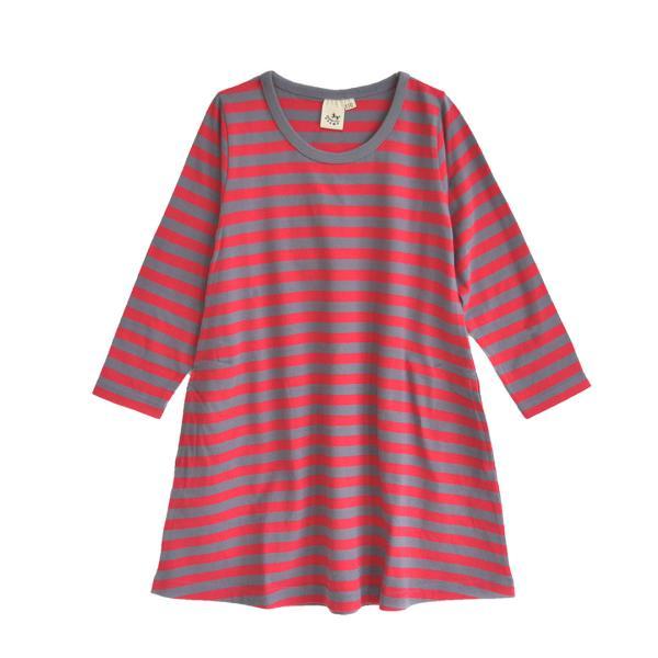 ワンピース キッズ ワンピ 長袖 綿100% 女の子 子供服 お揃い Aライン カットソー コットン ボーダー|e-zakkamania|25