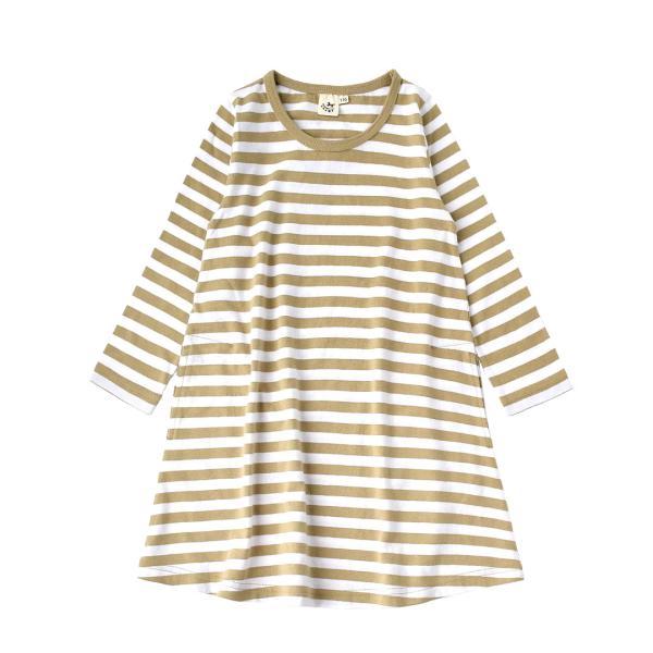 ワンピース キッズ ワンピ 長袖 綿100% 女の子 子供服 お揃い Aライン カットソー コットン ボーダー|e-zakkamania|32