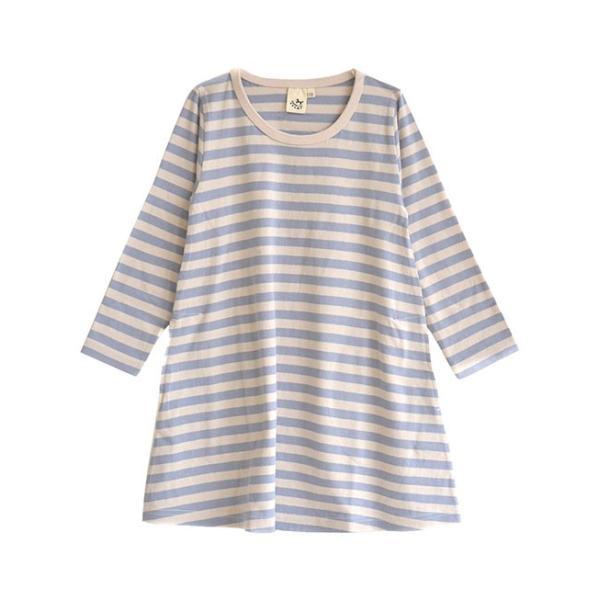ワンピース キッズ ワンピ 長袖 綿100% 女の子 子供服 お揃い Aライン カットソー コットン ボーダー|e-zakkamania|21