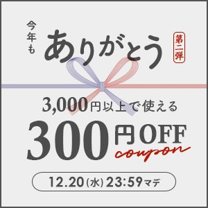 3,000円以上の購入で300円OFF【12/20(水) 23:59まで】