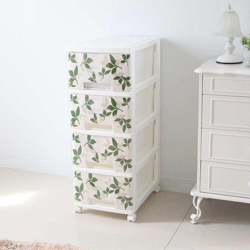 収納ケース プラスチック 引き出し 収納チェスト 4段 幅34 奥行47 収納家具 リビング 寝室 日本製 白 植物 ナチュラル