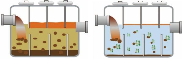 ROEBIC K-37JDのバクテリアが浄化槽内の汚物、油脂、ペーパーなどを分解し、水質を安定させます。