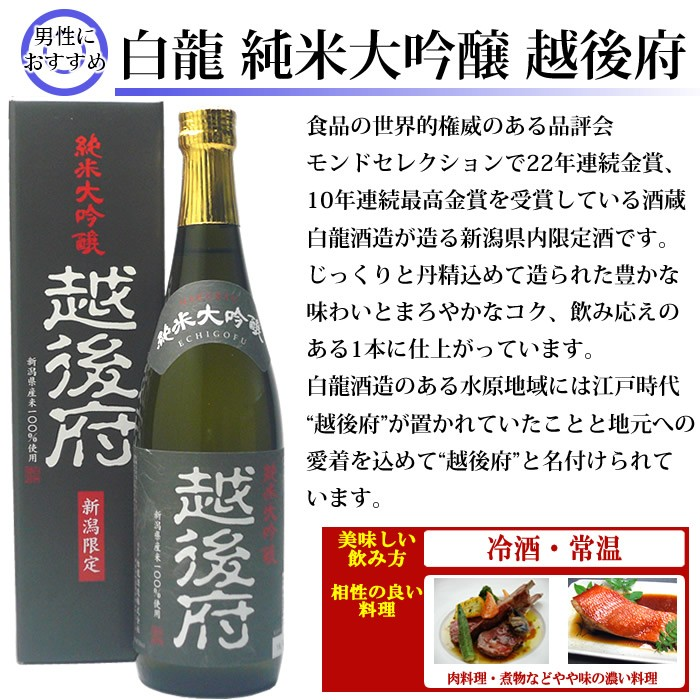日本酒 白龍 純米大吟醸越後府