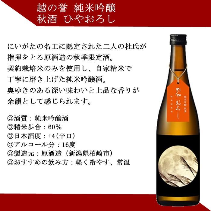 日本酒 ひやおろし 越の誉