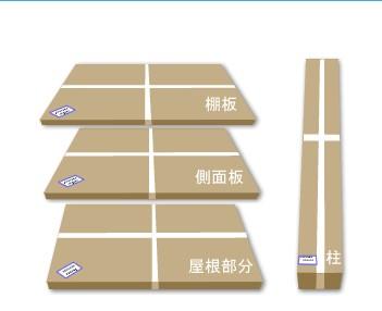 物置の梱包状態のイメージ