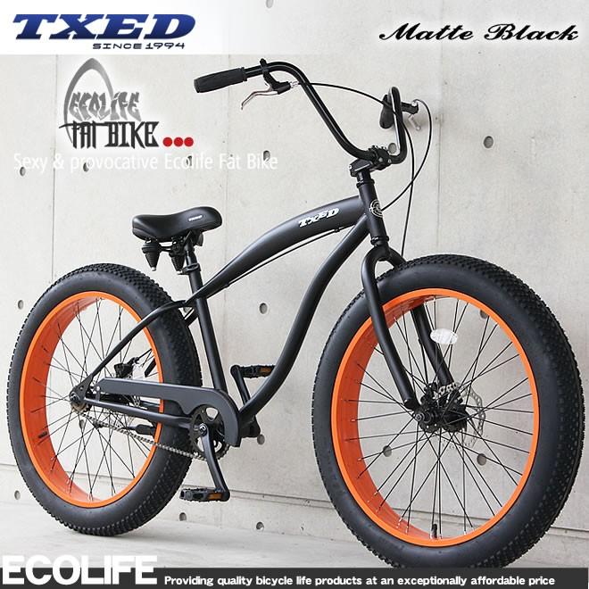 ファットバイク ビーチクルーザー  自転車 26インチ チョッパーハンドル 自転車 TXED FATBIKE 送料無料