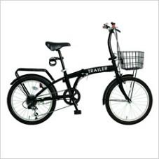 HANWA(阪和) 20インチ カラフル折りたたみ自転車 6段変速 カゴ/カギ/ライト付 TRAILER BGC-F20-BK ブラック