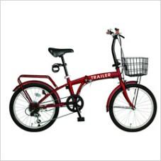HANWA(阪和) 20インチ カラフル折りたたみ自転車 6段変速 カゴ/カギ/ライト付 TRAILER BGC-F20-RD レッド