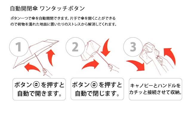 トゥミTUMI14414DSmallAutoCloseUmbrella無地折りたたみ傘50cm6本骨自動開閉SサイズBlackブラック モデルイメージ