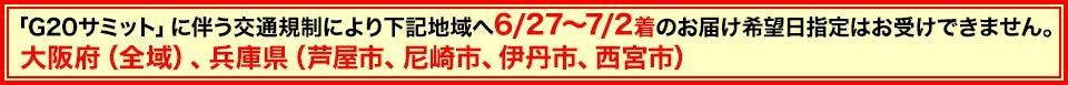 G20サミット交通規制に伴う大阪府(全域)・兵庫県(脚やh氏、尼崎市、伊丹市、西宮市)希望指定不可