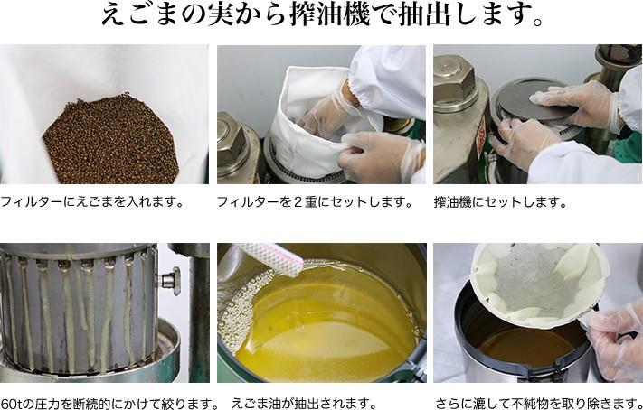 えごまの実から搾油機で抽出します。フィルターにえごまを入れます。フィッルターを2重にセットします。搾油機にセットします。60tの圧力を断続的にかけて絞ります。えごま油が抽出されます。さらに漉して不純物を取り除きます。