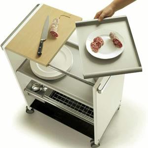 コンビ キッチン サービスワゴン(トレイ、カッティングボード付):イタリア製キッチン家具