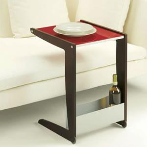 キャスター付サイドテーブル(ガラス天板):イタリア製リビング家具