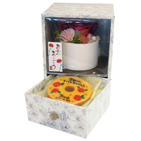 【送料無料】【母の日】母の日BOXプリザ&バウムセット AMB−12【代引不可】【ギフト館】