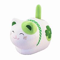 ゆらゆらソーラー 風水座り猫 緑(健康運)【返品・交換・キャンセル不可】【逸品館】