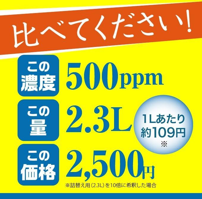 高濃度500ppm原液が2.3L