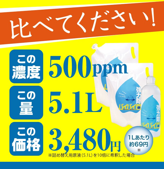 高濃度400ppm原液が2.3L