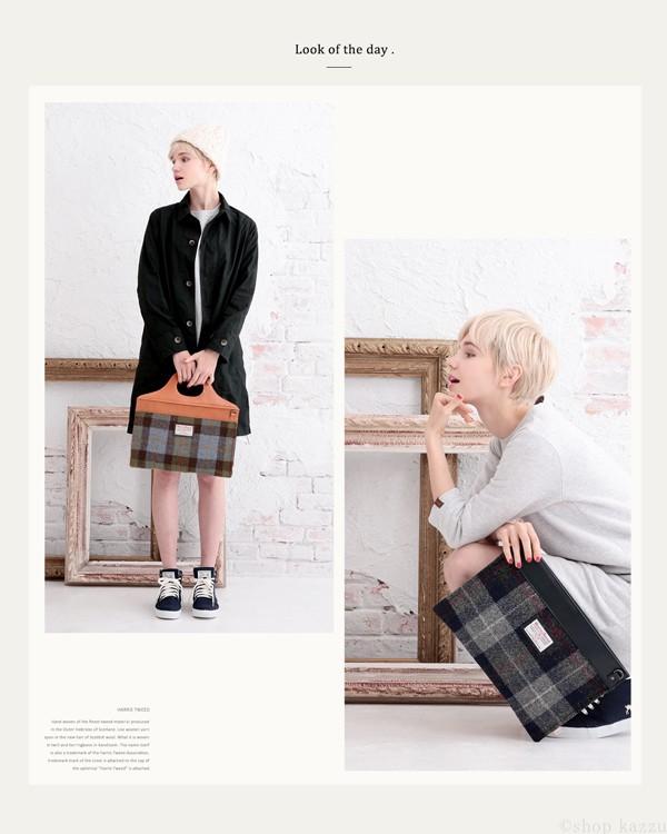 クラッチバッグ メンズ Harris Tweed(ハリスツイード) 本革 姫路レザー 薄マチ 2way 日本製