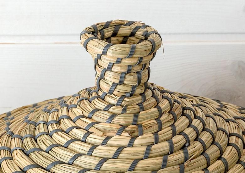 バスケット カゴ フタつき かご シーグラス製 整理 収納