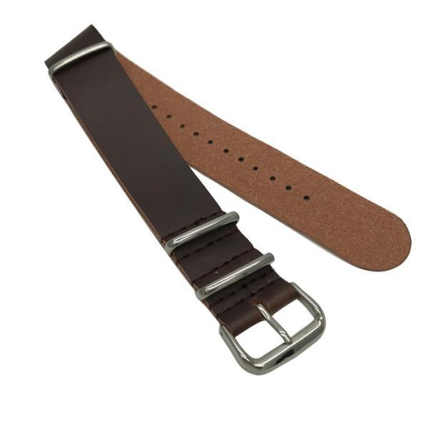 腕時計替えベルトNATOタイプ フェイクレザー ブラウン 22mm 腕時計 調整