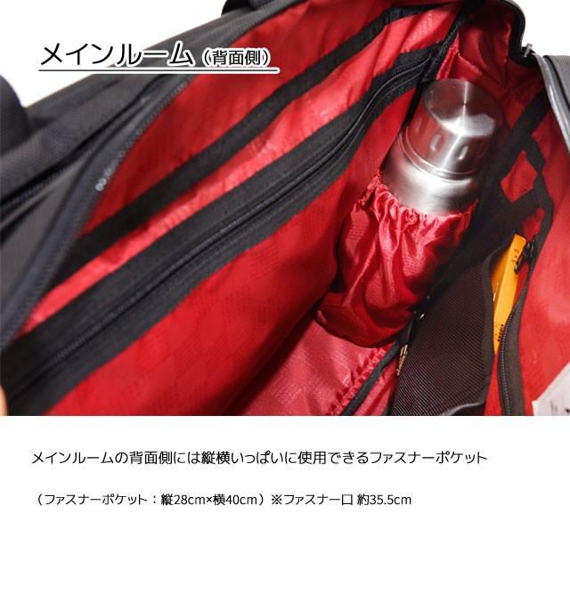メインルーム背面側には大きなファスナーポケットと側面にボトルポケット
