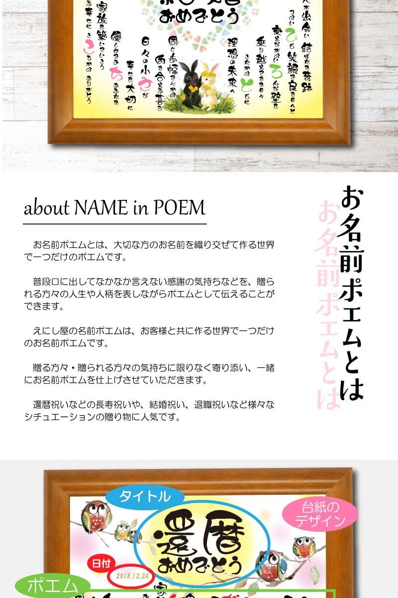 えにし屋の名前詩(名前ポエム)は、結婚祝い・還暦祝い・父の日・母の日のプレゼントにぴったりのネームポエムです。