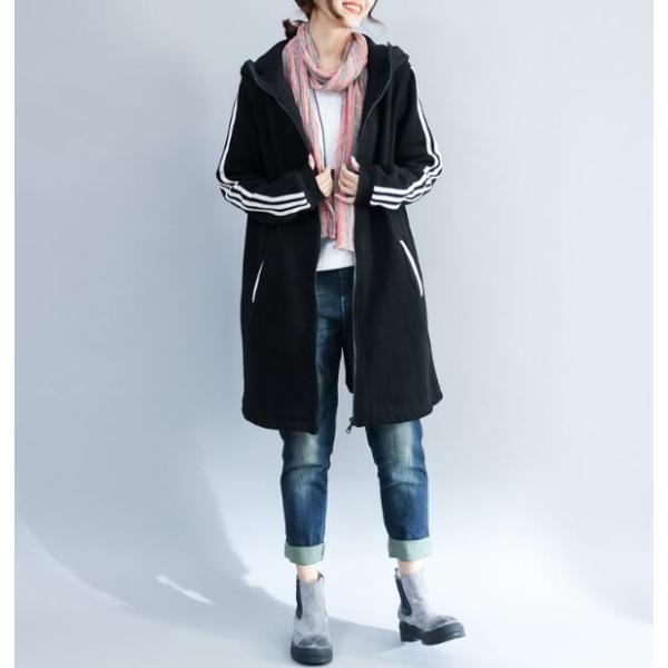 レディース トップス 長袖パーカー ロング丈 フード付き ジャケット パーカー シンプル 無地 大きいサイズ 着痩せ|enooocc|10