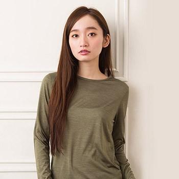 シルク100%ジャージー クルーネック長袖Tシャツ 日本製