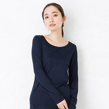 シルク100% ジャージー 長袖シンプルTシャツ 日本製