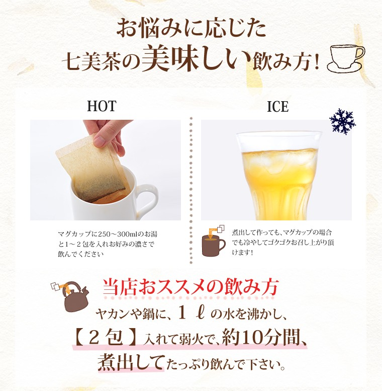 お悩みに応じた七美茶の美味しい飲み方